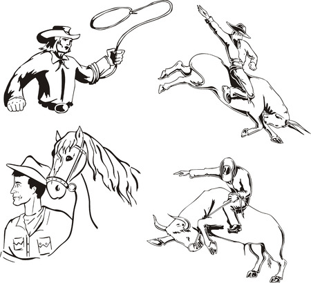 Set of cowboys. Black and white vector illustrations. Vector