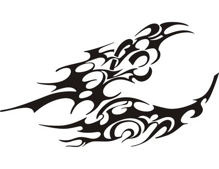tatouage papillon: papillon de tribal de tatouage, noir et blanc illustration vectorielle