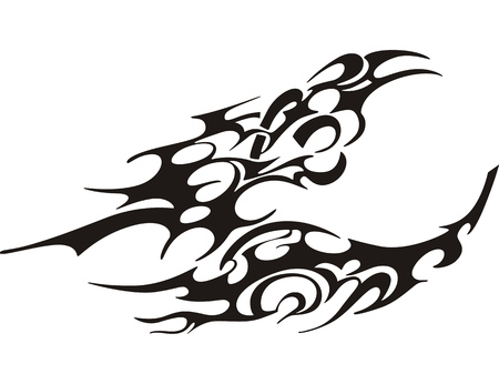 butterfly tattoo: tribal butterfly tattoo, black and white vector illustration