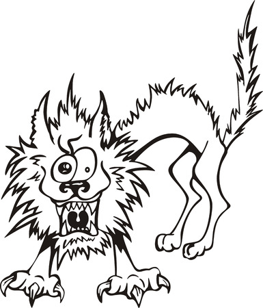 disheveled: ruffled cat, cartoon black and white vector illustration