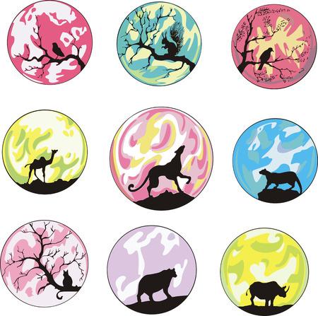 dingbats: Miscellaneous animal dingbats. Set of color vector animal icons.