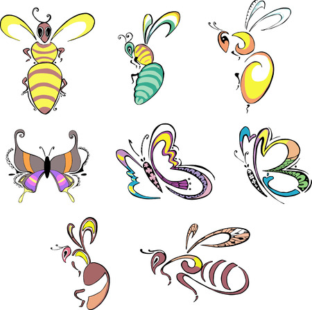 animalistic: Stylized insects - bees, wasps and butterflies. Set of color vector animal icons. Illustration