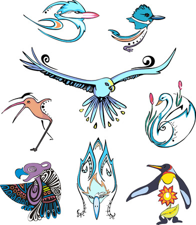 Miscellaneous stylized birds. Set of color vector animal icons. Vector