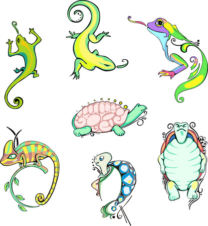Stylized lizards and turtles. Set of color vector animal icons. Vector
