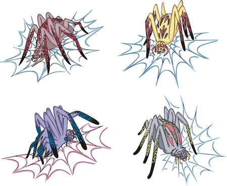 Spiders on web. Set of colorful vector illustrations. Stock Vector - 22323271