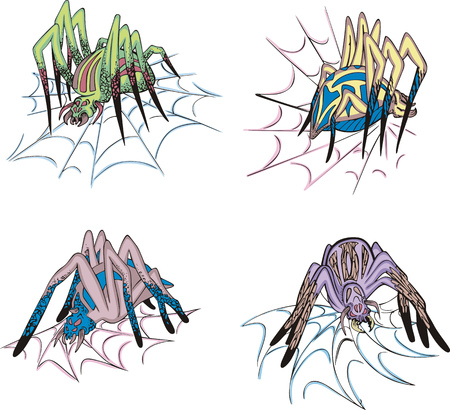 Spiders on web. Set of colorful vector illustrations. Stock Vector - 22323272