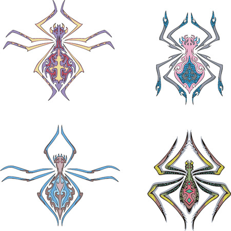 Symmetrical spider tattoos. Set of color vector illustrations. Stock Vector - 22323274