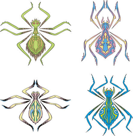 Symmetrical spider tattoos. Set of color vector illustrations. Stock Vector - 22323275