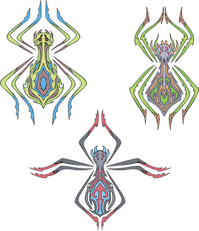 Symmetrical spider tattoos. Set of color vector illustrations. Vector