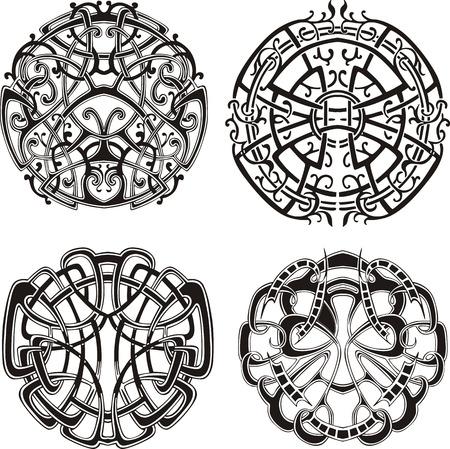 tribal tattoo: Symmetrical knot patterns.  Illustration