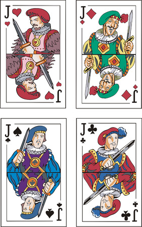jacks: Playing cards. Jacks.  Illustration