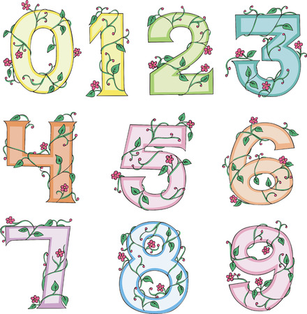 Floral Digits. Set of colorful vector illustrations. Vector