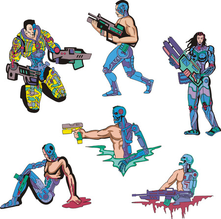 Cyborgs. Set of color vector illustrations. Biomechanics concept. Stock Vector - 22378824