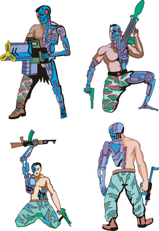 biomechanics: Cyborgs. Set of color vector illustrations. Biomechanics concept.
