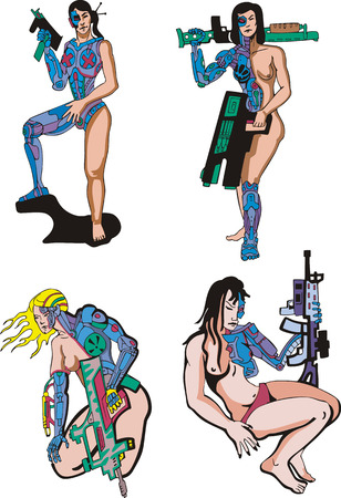 biomechanics: Women Cyborgs. Set of color vector illustrations. Biomechanics concept. Illustration
