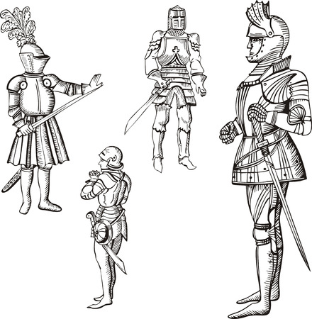 Medieval knights. Set of black and white vector illustrations. Vector