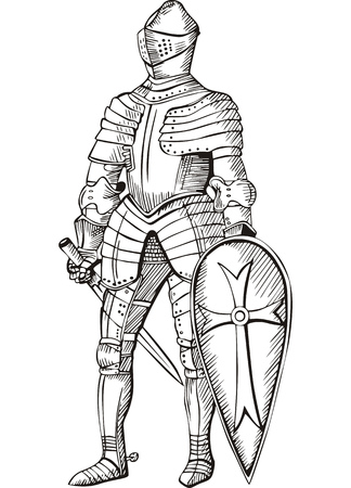 Medieval knight. Black and white vector illustration. Vector