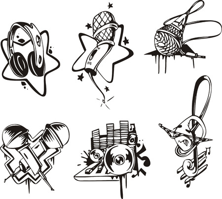 Music emblems and symbols. Set of black and white vector illustrations.