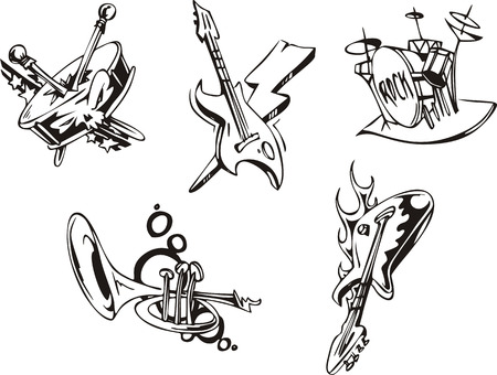Musical instruments. Set of black and white vector illustrations.