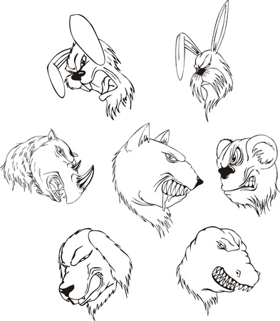 Aggressive animal heads. Set of black and white vector tattoo designs. Vector