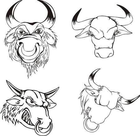 emblematic: Aggressive bull heads. Set of black and white vector tattoo designs.