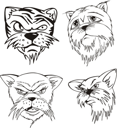Aggressive cat heads. Set of black and white vector tattoo designs.