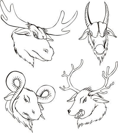 Aggressive heads of deers and goats. Set of black and white vector tattoo designs. Vector