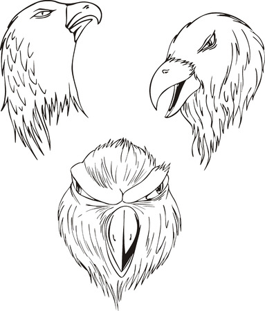 Aggressive eagle heads. Set of black and white vector tattoo designs. Illustration