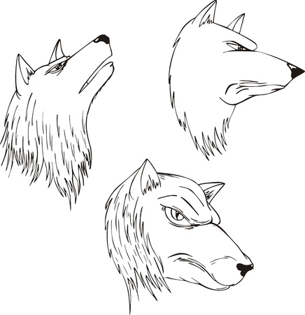 emblematic: Aggressive wolf heads. Set of black and white vector tattoo designs.