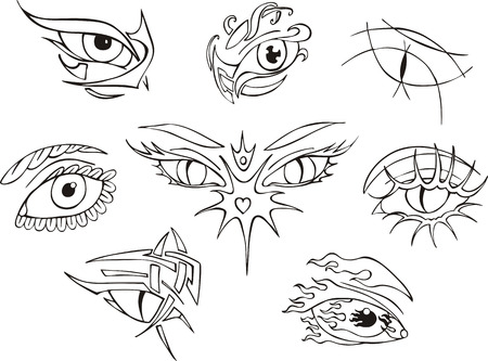 Eye tattoos. Set of black and white vector illustrations. Stock Vector - 22660945