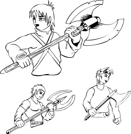 Anime warriors with poleaxe. Set of black and white outline vector illustrations. Vector