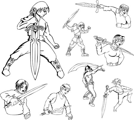 Anime warriors with swords. Set of black and white outline vector illustrations. Vector
