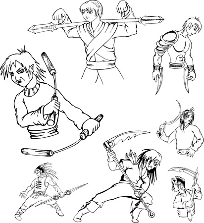 Anime warriors. Set of black and white outline vector illustrations. Vector
