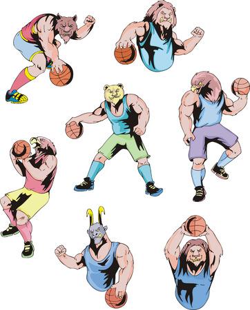 Sport mascots - basketball. Set of color vector illustrations. Illustration
