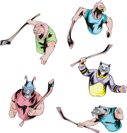 fearsome: Sport mascots - ice hockey. Set of color vector illustrations.