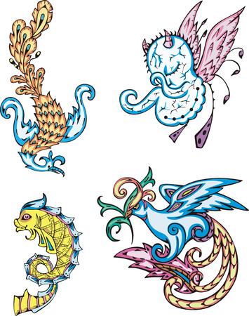 devil fish: Mythic creatures - birds, fish, devil. Set of color vector illustrations.