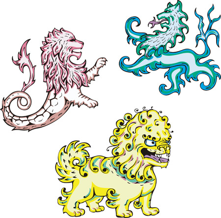 Three mythic lions. Set of color vector illustrations. Stock Vector - 24146452