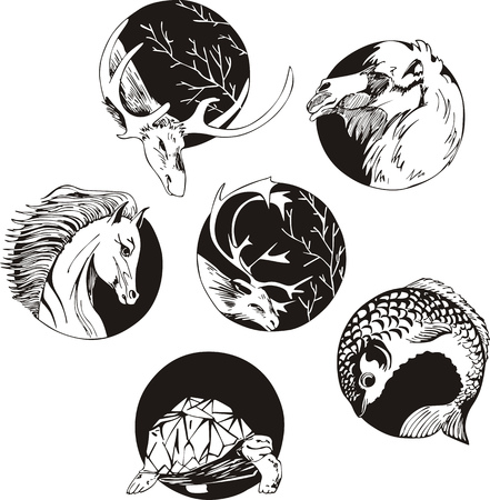 Round designs with animals. Set of black and white vector illustrations.