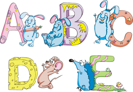 animalistic: Funny childish letters ABCDE. Set of color vector illustrations. Illustration