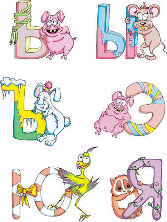 Funny childish Cyrillic (Russian) letters. Set of color vector illustrations. Vector