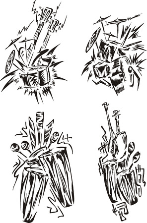 symphonic: Stylized music emblems - percussion. Set of black and white vector illustrations.