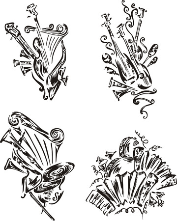 folklore: Stylized music emblems - folklore. Set of black and white vector illustrations. Illustration