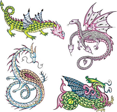 Four mythic dragons. Set of color vector illustrations. Illustration
