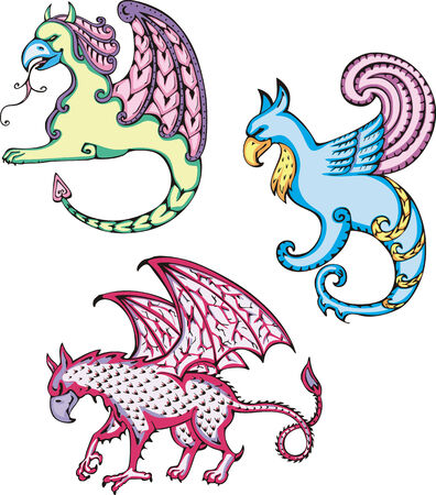 Three mythic griffins. Set of color vector illustrations. Vector