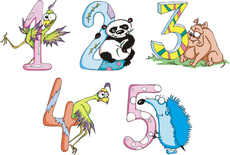 Funny childish digits 12345. Set of color vector illustrations. Vector