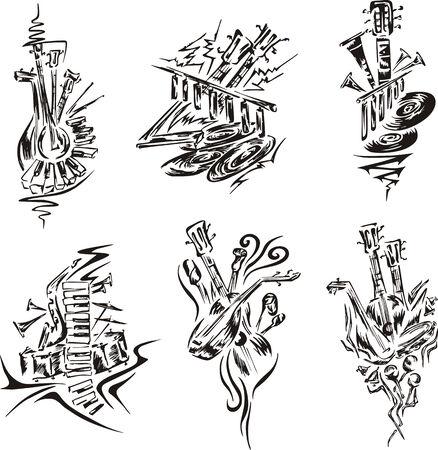 symphonic: Stylized music emblems. Set of black and white vector illustrations. Illustration