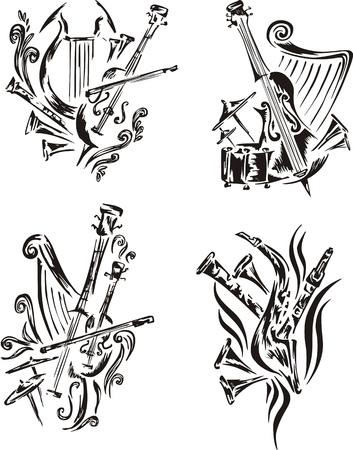 symphonic: Stylized music emblems - symphony. Set of black and white vector illustrations.