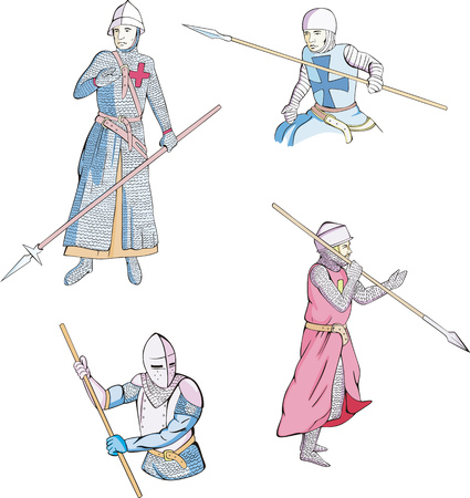 spearman: Set of medieval knights with spears. Vector illustration. Illustration