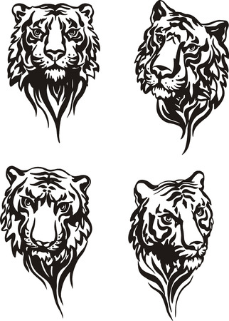 Set of tiger heads. Black and white vector illustrations. Vector