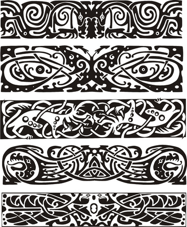 Animalistic knot designs in celtic style. Black and white vector illustrations.